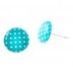 Malé náušnice pecky Epoxy - modrobílé - S puntíčkem