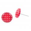 Malé náušnice pecky Epoxy - červenobílé - S puntíčkem
