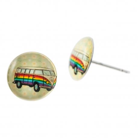 Malé náušnice pecky Epoxy - béžové - Hippie Car