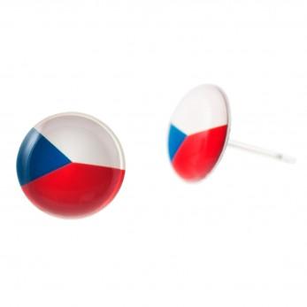 Malé náušnice pecky Epoxy - trikolora - Svět: Česko