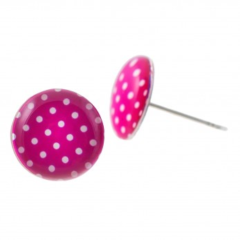 Malé náušnice pecky Epoxy - růžovobílé - s puntíčkem