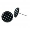 Malé náušnice pecky Epoxy - černobílé - S puntíčkem