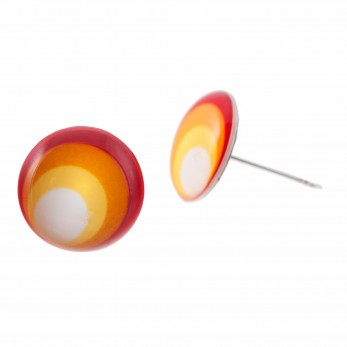 Malé náušnice pecky Epoxy - červenožluté - Circles