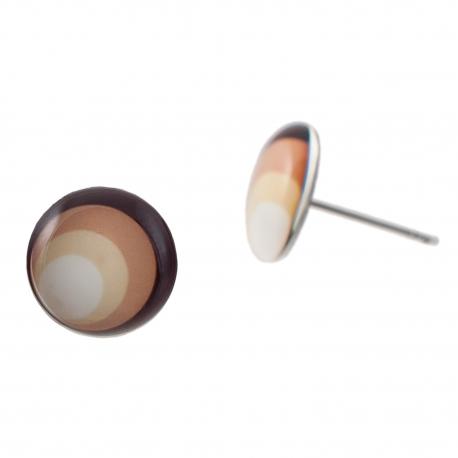 Malé náušnice pecky Epoxy - hnědobéžové - Circles mocca