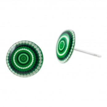 Malé náušnice pecky Epoxy - zelenočernobílé - Vertigo