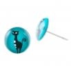 Malé náušnice pecky Epoxy - modré - Kočka stojící