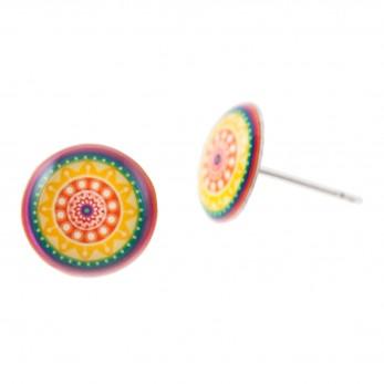 Malé náušnice pecky Epoxy - barevné - Mandala duhová