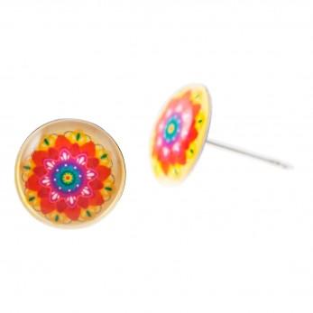 Malé náušnice pecky Epoxy - barevné - Mandala barevná
