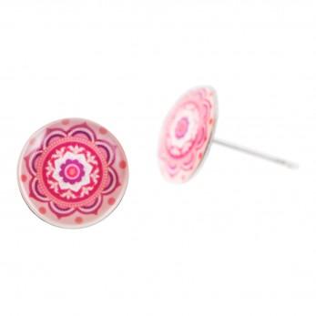 Malé náušnice pecky Epoxy - růžové - Mandala růžová