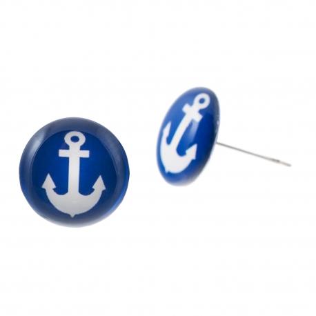 Malé náušnice pecky Epoxy - modré - námořnické kotvičky