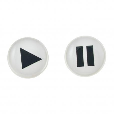 Malé náušnice pecky Epoxy - bílé - Play/pause bílé