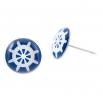 Malé náušnice pecky Epoxy - modré - námořnické kormidlo