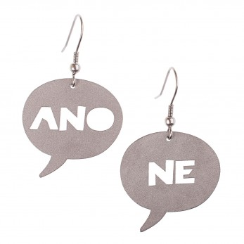 Visací ocelové náušnice - Ano/Ne