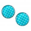 Velké náušnice pecky Epoxy - modré - S puntíčkem