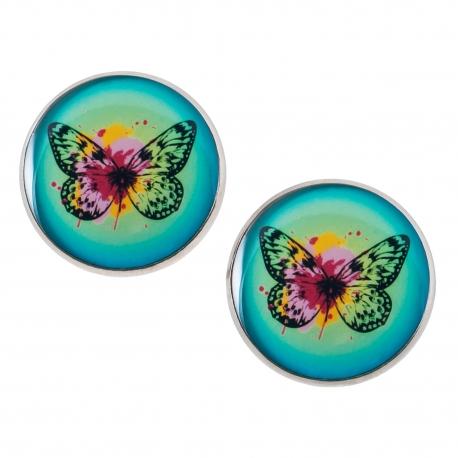 Velké náušnice pecky Epoxy - zelené - Motýlek