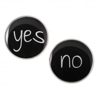 Velké náušnice pecky Epoxy - černé - Yes No