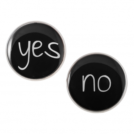 Velké náušnice pecky Epoxy - černéé - Yes No