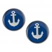 Velké náušnice pecky Epoxy - modré - námořnické kotvičky