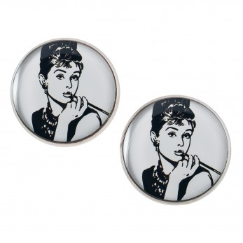 Velké náušnice pecky Epoxy - bílé - Audrey Hepburn