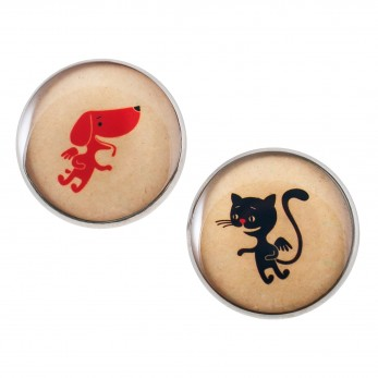 Velké náušnice pecky Epoxy - béžové - Pejsek a kočička