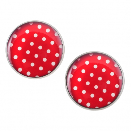 Velké náušnice pecky Epoxy - červené - S puntíčkem