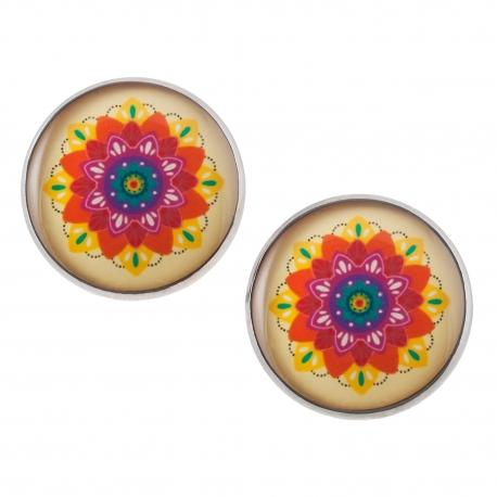 Velké náušnice pecky Epoxy - barevné - Mandala