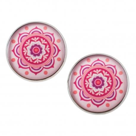 Velké náušnice pecky Epoxy - růžové - Mandala
