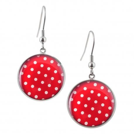 Kulaté visací náušnice Epoxy - červenobílé - S puntíkem