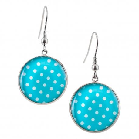Kulaté visací náušnice Epoxy - modrobílé - S puntíkem