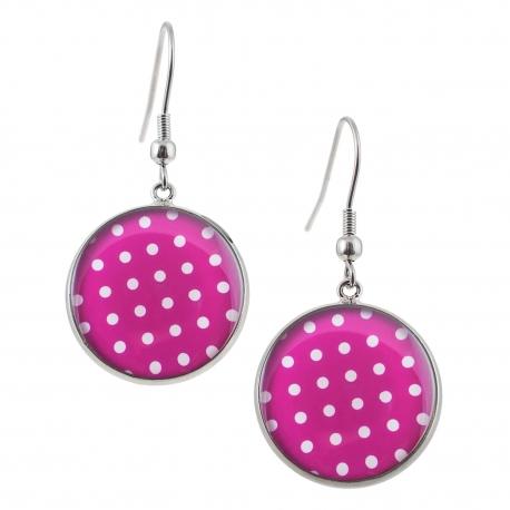 Kulaté visací náušnice Epoxy - růžovobílé - S puntíkem