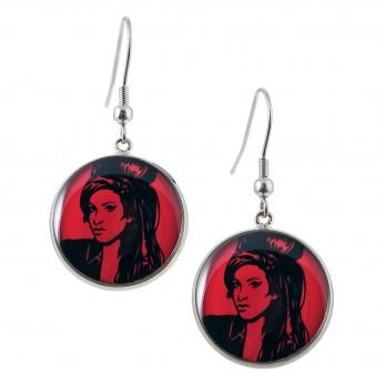 Kulaté visací náušnice Epoxy - červené - Amy Winehouse
