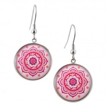 Kulaté visací náušnice Epoxy - růžové - Mandala růžová