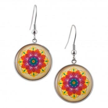 Kulaté visací náušnice Epoxy - béžové - Mandala barevná
