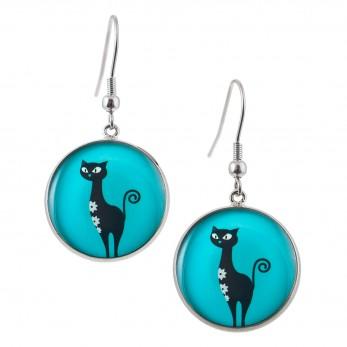 Kulaté visací náušnice Epoxy - modré - Kočky