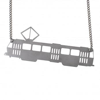 Ocelový přívěsek na krk - Tramvaj