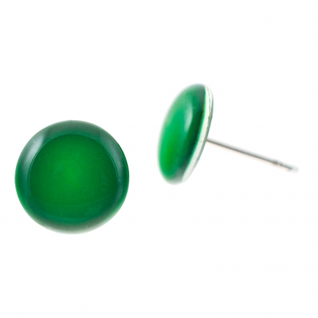 Malé náušnice pecky - Lentilky -  tmavě zelené