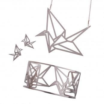 Luxusní sada ocelových šperků Complexity - Origami earstuds
