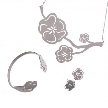 Luxusní sada ocelových šperků Complexity - Sakura earstuds