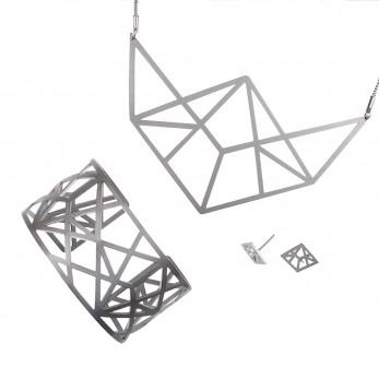Luxusní sada ocelových šperků Complexity - Linear Earstuds