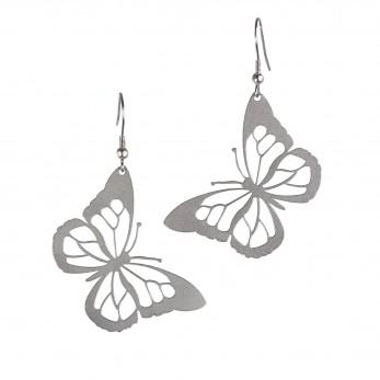 Visací ocelové náušnice - Motýli
