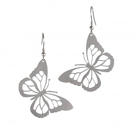 Visací ocelové náušnice - Motýli visací
