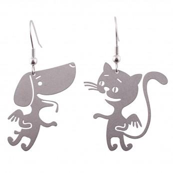Visací ocelové náušnice - Pejsek a kočička
