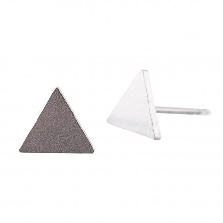 Ocelové náušnice pecky - Trojúhelník