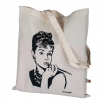 Béžová plátěná taška s potiskem - Audrey Hepburn