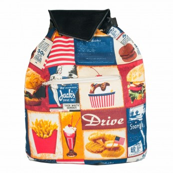 Látkový batoh Téseus s koženkou - Fast Food