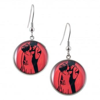 Kulaté visací náušnice Epoxy - červené - Hříšný tanec
