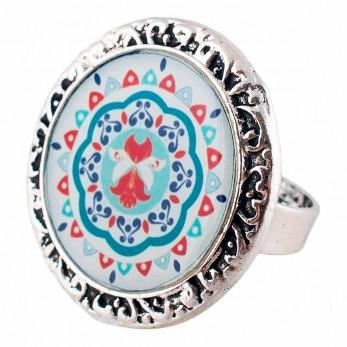 Prstýnek -  Mandala modročervená