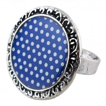 Prstýnek -  Modrobílý puntíček