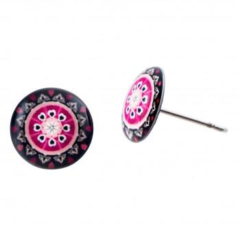 Malé náušnice pecky Epoxy - černé - Mandala růžovočerná