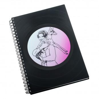Zápisník z vinylových desek A5 - bez linek - Audrey se srnou